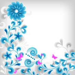 Bright floral grunge background
