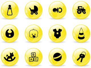 Glossy web buttons, baby icons