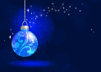 Blue christmas ball hangs on blue background