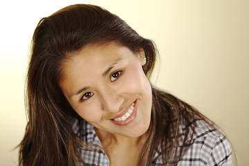 Beautiful young Peruvian woman smiling