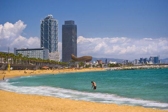 Barcelona - Barceloneta beach and skyscrapers