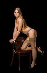 The sexual blonde in underwear