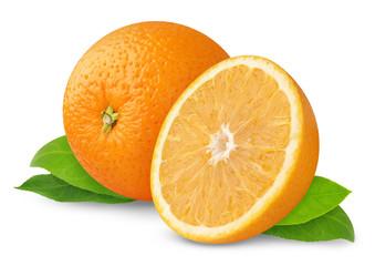 Isolated oranges. Cut orange fruits isolated on white background