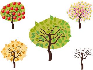 cartoon style of seasonal trees