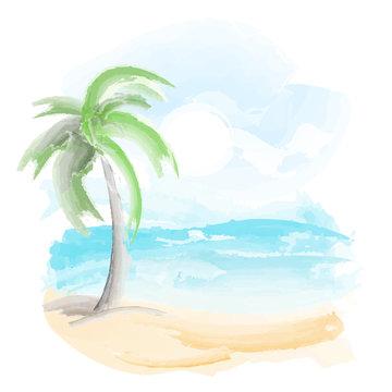 beach and sea watercolor