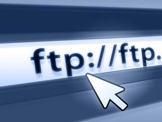 ftp - file transfer protocol blue concept