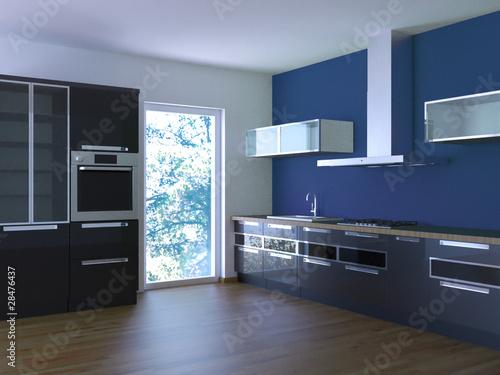 """Küche Rendering 3d schwarz blau"""" Stockfotos und lizenzfreie Bilder ..."""