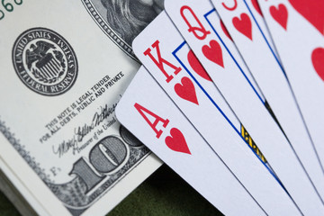 Poker cards and gambling chips