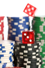 Casino dice on chips