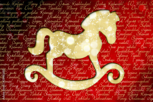 Frohe Weihnachten Und Ein Glückliches Neues Jahr In Allen Sprachen.Frohe Weihnachten In Allen Sprachen Der Welt Schaukelpferd