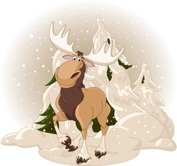 Moose against a snowy forest