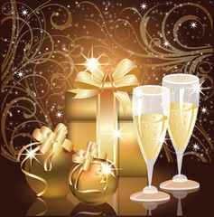 Christmas greeting card, Champagne with xmas ball. vector