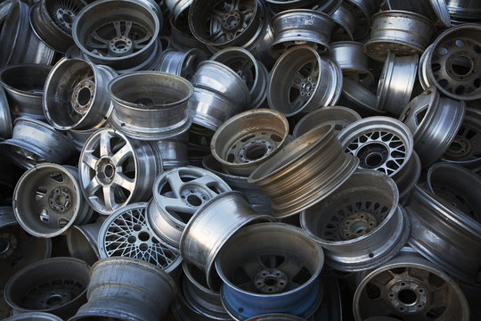 Old Metal Wheels ready for Recycling