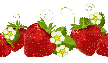 Ripe strawberries,leaves and flowers in seamless border