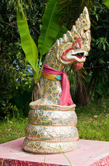 Serpent statue made from mirror in temple