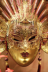 Venetian carnival mask with gold