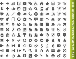 132 web, office, media, buisness icons