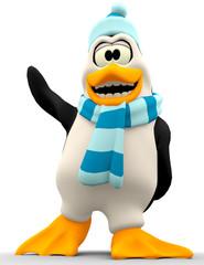penguin cartoon in bottom view