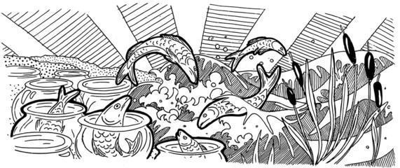 Абстракция с рыбами