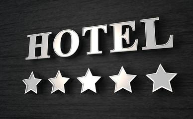 5 Sterne Hotel Schild - Silber auf Schwarz