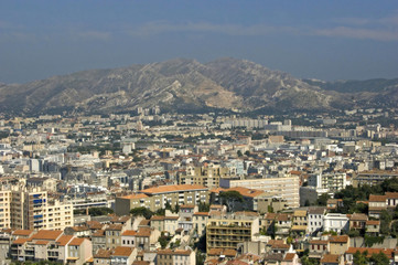 Blick von Notre-Dame de la Garde über Marseille
