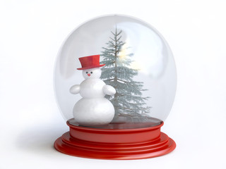 Snowman and Pine Tree Inside Snow Globe In 3D