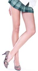 Long pretty woman legs on hills