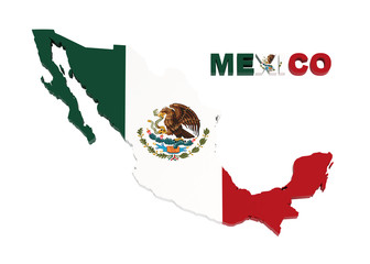 Mexico, map with flag, isolated on white with clipping path