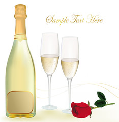 Vector illustration. Two glasses of champagne with red rose.