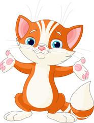 Fototapete - Red Kitten raising his hands