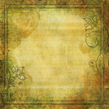 Grunge yellow - green background with swirl border