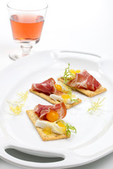 Prosciutto goat cheese canapes
