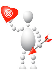 Man with red heart and arrow