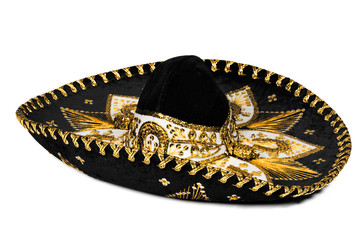 Black sombrero isolated