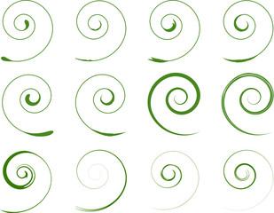 Grün Floral Spiralen Pflanzen