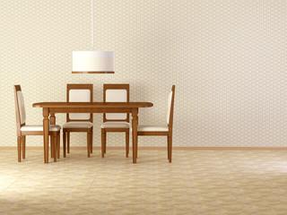 Design interior of elegance vintage dining room