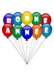 """""""BONNE ANNEE"""" (ballons de baudruche nouvel an année carte voeux)"""