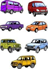 Seven passenger cars. Cars.