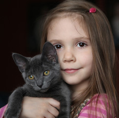 Girl and kitty