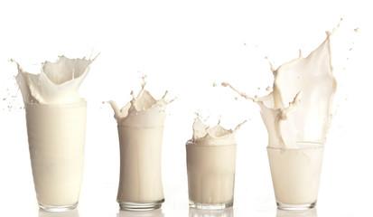 fresh milk splashing on a glass on white background collection