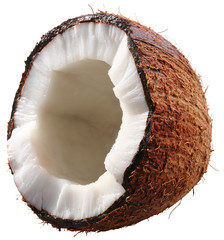 Half of the coconut is isolated on a white background.