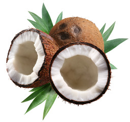 Chopped coconuts with leaves on white background.
