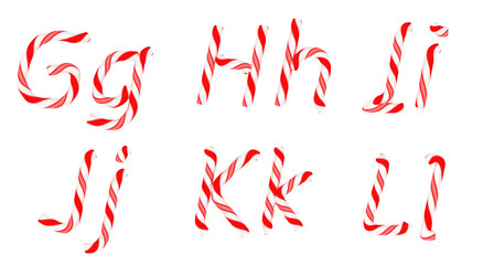Candy cane font G - L letters isolated