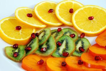 Persimmon, kiwi, orange
