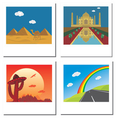 Set of four travel vector photos with Taj Mahal,egypt pyramids,r