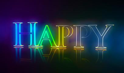 3D Typografie Happy