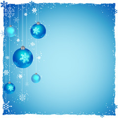 New Year Christmas background, snowflakes, balls. Vector