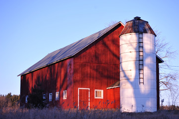 Wisconsin Homestead Red Barn and White Silo