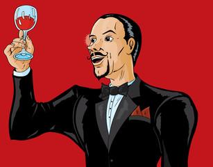 Man or waiter appreciating wine