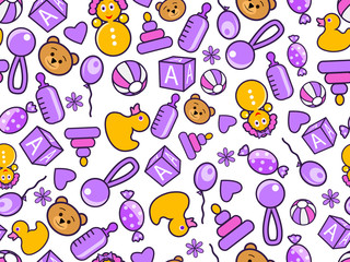 kid's seamless doodle pattern in violet and orange colors.